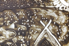 Малюкова Милена, Тихомирова Ксения и Кузьмин Марк рисовали по мотивам саамских сказок.