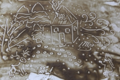 Снимщикова Анастасия рисовала сказку П. Бажова «Серебряное копытце».