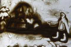 Сурков Артем рисовал саамскую сказку про женщину и дикого оленя.